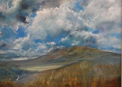 Summer Skies over Pen-y-ghent.Oil.58x49cm frame 73x64cm.£1450