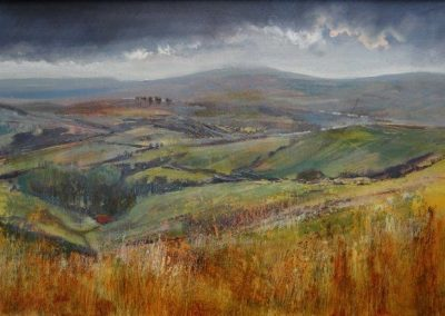 Towards Wernside from TathamBurn Moor.Oil and mixed media.40x28cm frame 55x42cm.£895