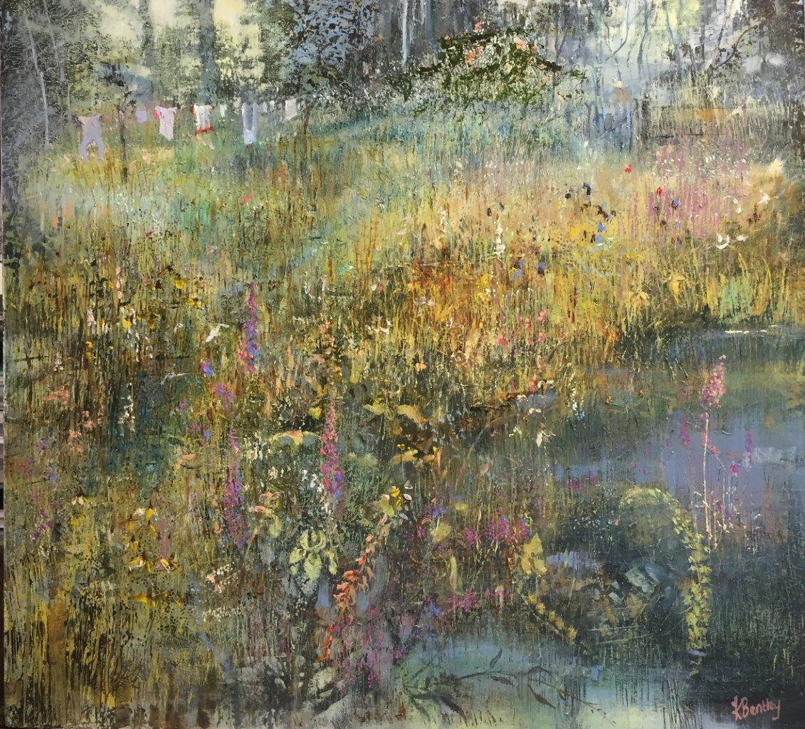 Yellow Iris.Oil on Panel.470mm x 470mm.Frame 500x500mm.£1450