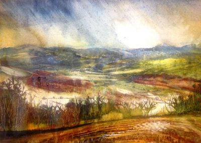 Kate Bentley SWA.On site Sketch- (Eden valley towards Blencathra and northern Fells.) Pure Watercolour.40x30cm.£395