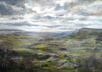 Kate Bentley SWA.Touch of Green in the valley.Oil on Panel.50x80cm.£2200
