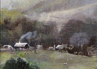 Up to Dunmail Raise Grasmere.Oil on board.15x21cm£195.